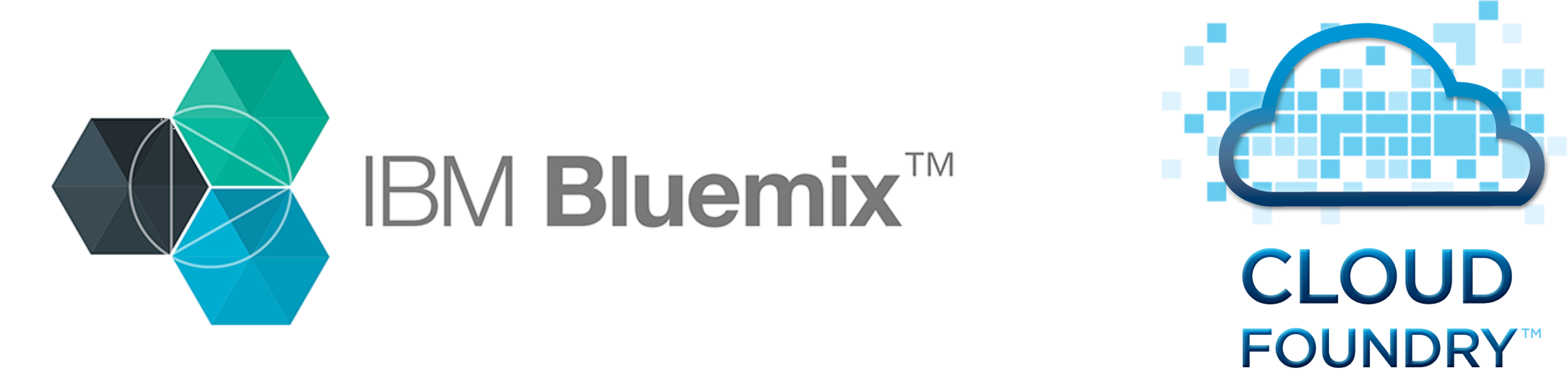 Logos of Bluemix and Cloud Foundery